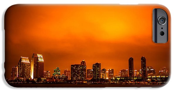 Business iPhone Cases - San Diego Cityscape at Night iPhone Case by Paul Velgos