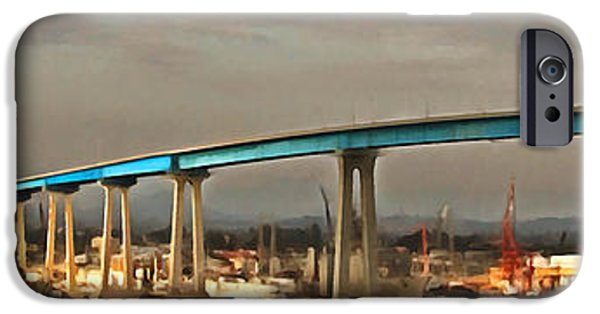 Bay Bridge iPhone Cases - San Diego Coronado Bridge 5D24388painterly iPhone Case by Wingsdomain Art and Photography