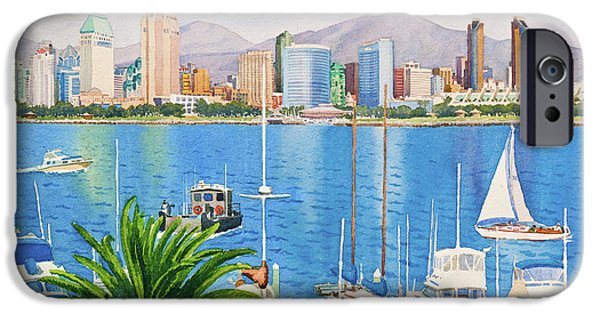 Yachts iPhone Cases - San Diego Fantasy iPhone Case by Mary Helmreich