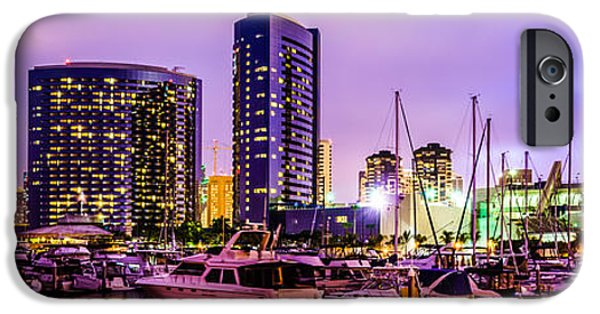 Sailboat iPhone Cases - San Diego Panorama Photography iPhone Case by Paul Velgos