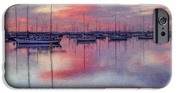 Abstract Digital Art iPhone Cases - San Diego - Sailboats at Sunrise iPhone Case by Lianne Schneider