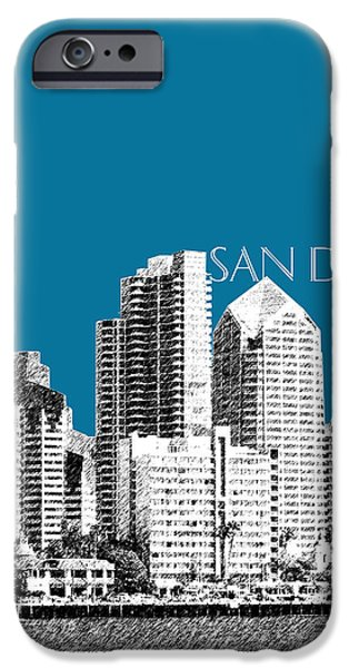 Pen And Ink iPhone Cases - San Diego Skyline 1 - Steel iPhone Case by DB Artist