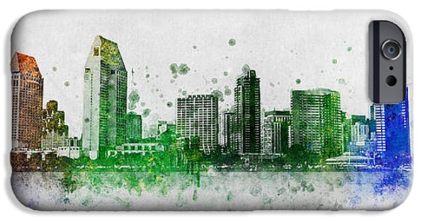 Bay Bridge Mixed Media iPhone Cases - San Diego Skyline iPhone Case by Aged Pixel