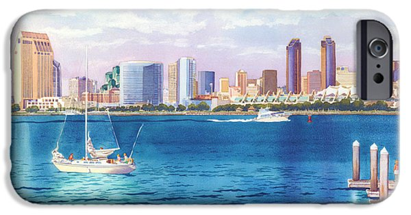 Docked Boat iPhone Cases - San Diego Skyline and Convention Ctr iPhone Case by Mary Helmreich