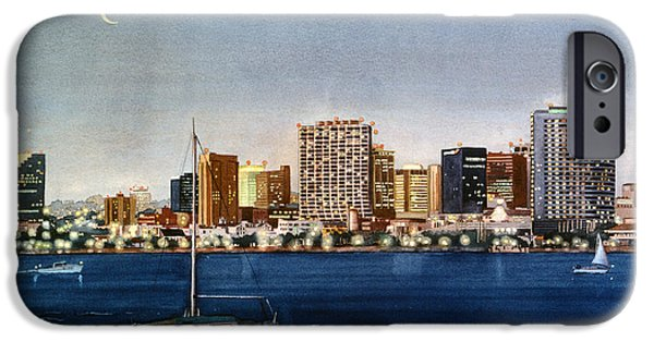 City Scene iPhone Cases - San Diego Skyline at Dusk iPhone Case by Mary Helmreich