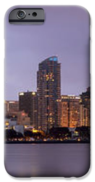 San Diego Skyline at Dusk Panoramic iPhone Case by Adam Romanowicz