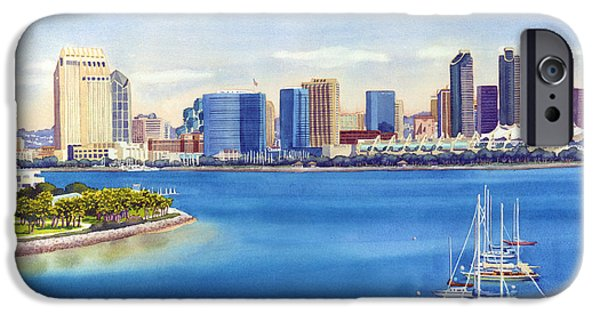 Sail Boat iPhone Cases - San Diego Skyline with Meridien iPhone Case by Mary Helmreich