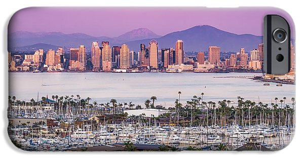 Boats iPhone Cases - San Diego Sundown iPhone Case by Duane Miller