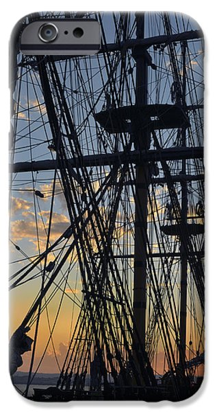 Tall Ship iPhone Cases - San Diego Sunset iPhone Case by Marianne Campolongo