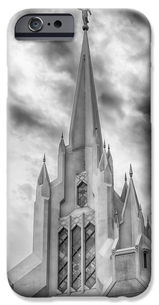 Angel Moroni iPhone Cases - San Diego Temple iPhone Case by Kevin Rowe
