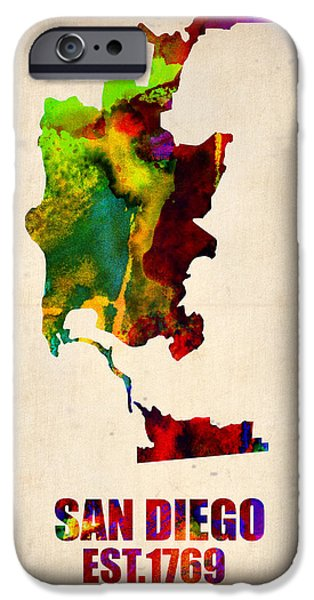California Map iPhone Cases - San Diego Watercolor Map iPhone Case by Naxart Studio