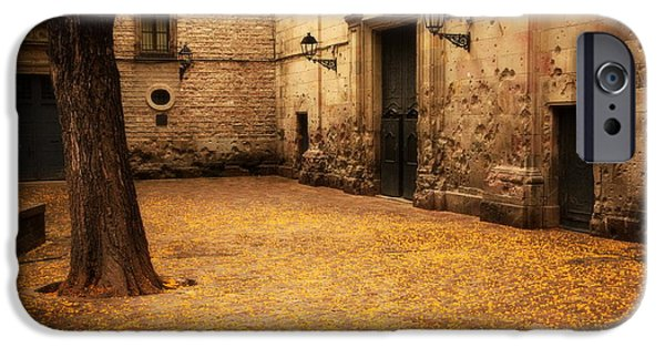 Asphalt iPhone Cases - San Felip Nery Square in Barcelona.  iPhone Case by HQ Photo
