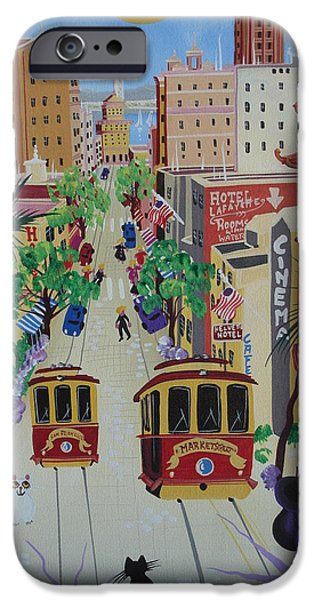 San Francisco Street iPhone Cases - San Francisco, 2010-12 Acrylic On Canvas iPhone Case by Herbert Hofer