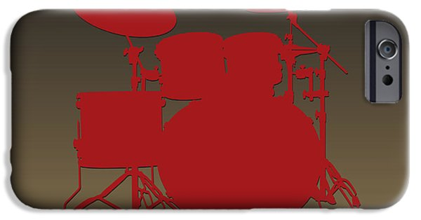 Drum Sets iPhone Cases - San Francisco 49ers Drum Set iPhone Case by Joe Hamilton