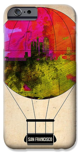 Town iPhone Cases - San Francisco Air Balloon 1 iPhone Case by Naxart Studio