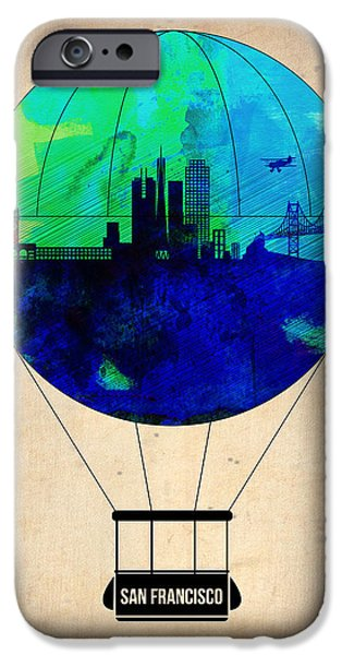 Town iPhone Cases - San Francisco Air Balloon iPhone Case by Naxart Studio