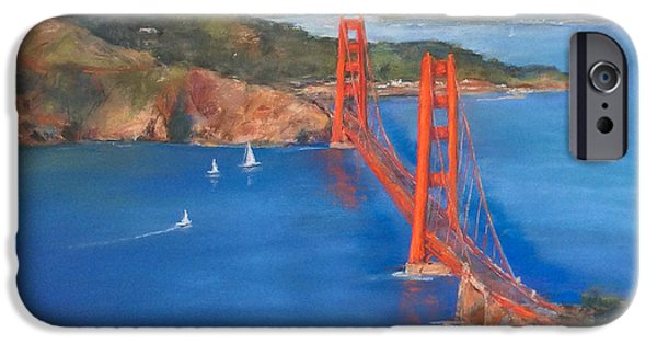Sausalito Pastels iPhone Cases - San Francisco Bay Bridge iPhone Case by Hilda Vandergriff