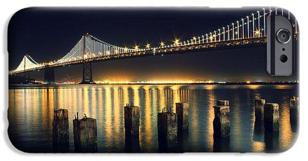 Night Photographs iPhone Cases - San Francisco Bay Bridge Illuminated iPhone Case by Jennifer Ramirez