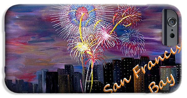 4th July Paintings iPhone Cases - San Francisco Bay City Celebration iPhone Case by Mark Moore