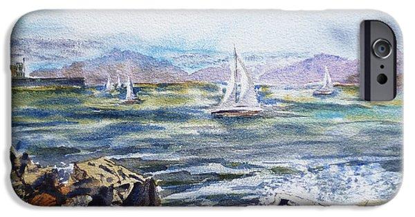 Sailing iPhone Cases - San Francisco Bay from Richmond Shore Line iPhone Case by Irina Sztukowski