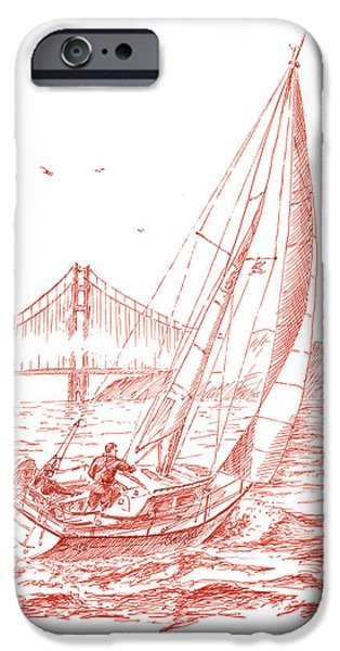Ink Drawing Drawings iPhone Cases - San Francisco Bay Sailing To Golden Gate Bridge iPhone Case by Irina Sztukowski
