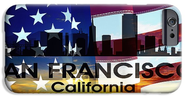 San Francisco Cali iPhone Cases - San Francisco CA Patriotic Large Cityscape iPhone Case by Angelina Vick
