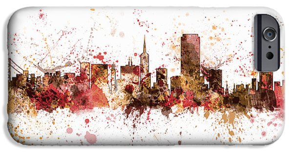 San Francisco iPhone Cases - San Francisco California City Skyline iPhone Case by Michael Tompsett