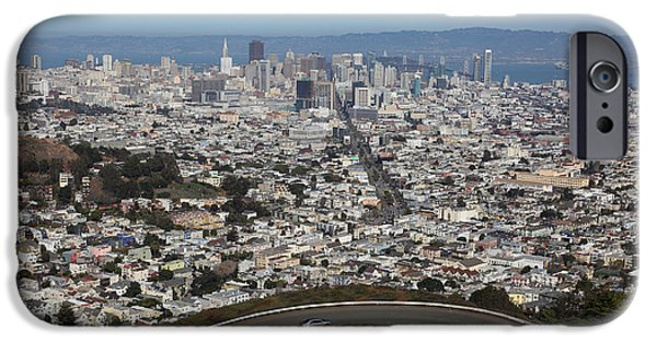 Birdseye iPhone Cases - San Francisco California From Twin Peaks 5D28034 iPhone Case by Wingsdomain Art and Photography
