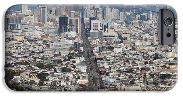 Birdseye iPhone Cases - San Francisco California From Twin Peaks 5D28040 iPhone Case by Wingsdomain Art and Photography