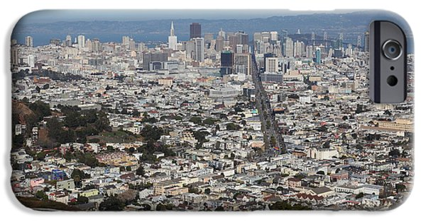 Birdseye iPhone Cases - San Francisco California From Twin Peaks 5D28044 iPhone Case by Wingsdomain Art and Photography