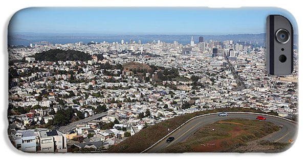 Birdseye iPhone Cases - San Francisco California From Twin Peaks 5D28053 iPhone Case by Wingsdomain Art and Photography