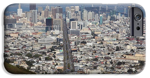 Birdseye iPhone Cases - San Francisco California From Twin Peaks 5D28073 iPhone Case by Wingsdomain Art and Photography