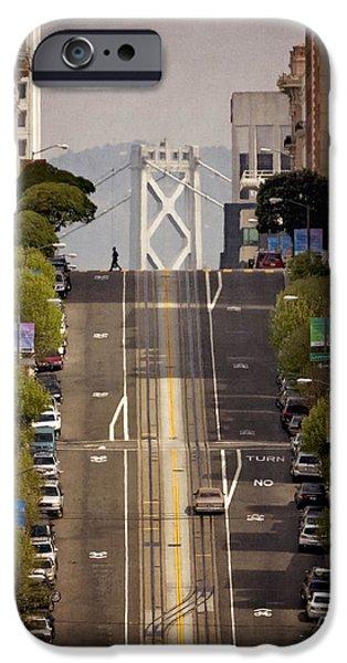 Bay Bridge Digital iPhone Cases - San Francisco circa 1980 iPhone Case by Eduard Moldoveanu
