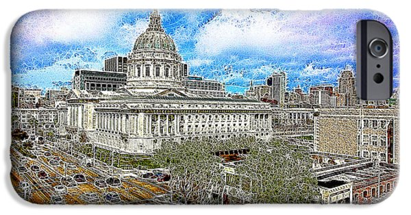 Palatial iPhone Cases - San Francisco City Hall 5D22507 Photoart iPhone Case by Wingsdomain Art and Photography