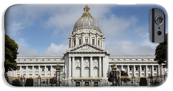 Palatial iPhone Cases - San Francisco City Hall 5D22569 iPhone Case by Wingsdomain Art and Photography