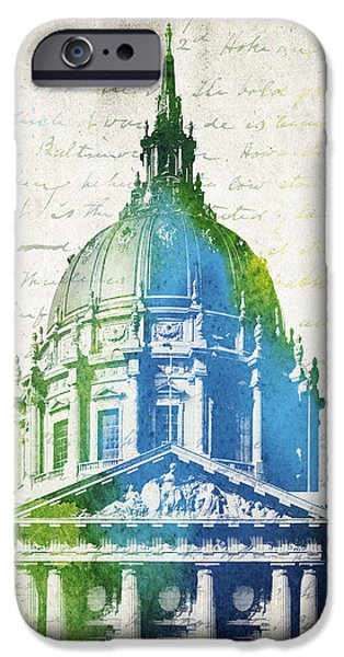 Recently Sold -  - Buildings Mixed Media iPhone Cases - San Francisco City Hall iPhone Case by Aged Pixel