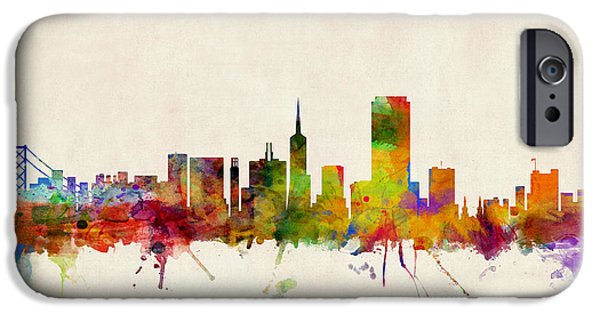 Watercolor iPhone Cases - San Francisco City Skyline iPhone Case by Michael Tompsett