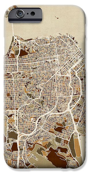 San Francisco iPhone Cases - San Francisco City Street Map iPhone Case by Michael Tompsett