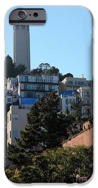 San Francisco Coit Tower At Levis Plaza 5D26192 iPhone Case by Wingsdomain Art and Photography