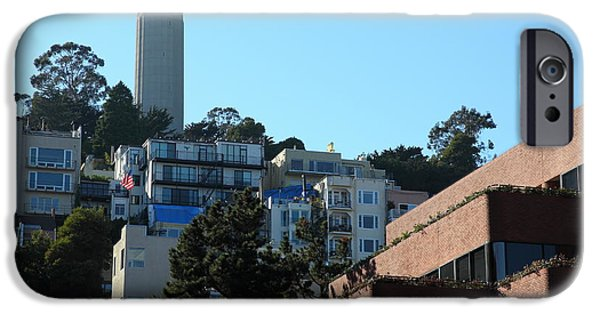 Levis iPhone Cases - San Francisco Coit Tower At Levis Plaza 5D26193 iPhone Case by Wingsdomain Art and Photography