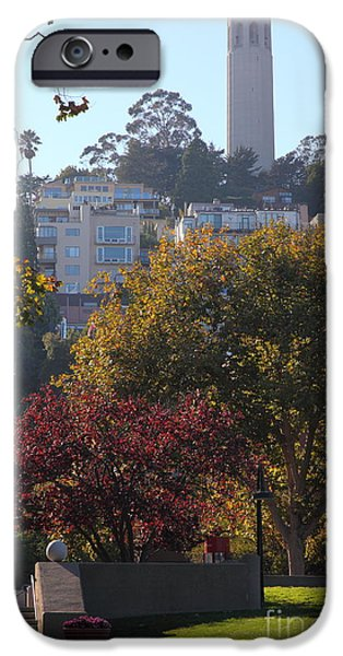 San Francisco Coit Tower At Levis Plaza 5D26216 iPhone Case by Wingsdomain Art and Photography