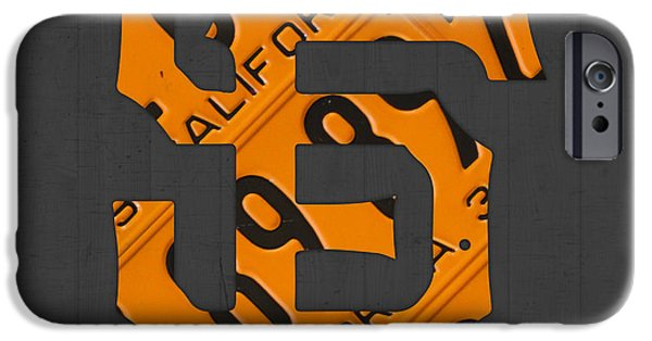 San Francisco iPhone Cases - San Francisco Giants Baseball Vintage Logo License Plate Art iPhone Case by Design Turnpike