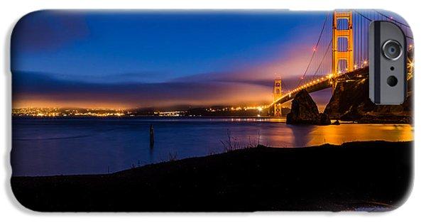 San Francisco Cali iPhone Cases - San Francisco Golden Gate Bridge Reflection iPhone Case by Dave Gordon