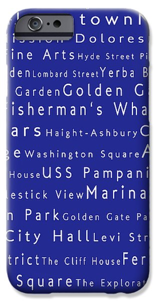 San Francisco in Words Blue iPhone Case by Sabine Jacobs
