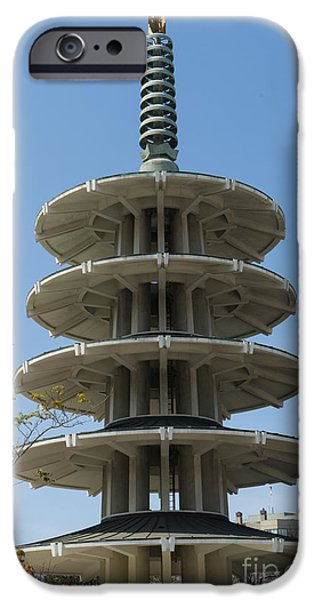 Japan Town iPhone Cases - San Francisco Japantown Pagoda DSC993 iPhone Case by Wingsdomain Art and Photography