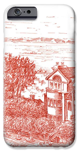Sepia Ink Drawings iPhone Cases - San Francisco Leavenworth Street Bay View iPhone Case by Irina Sztukowski