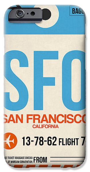 Town iPhone Cases - San Francisco Luggage Tag Poster 1 iPhone Case by Naxart Studio
