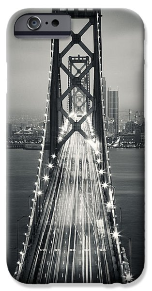 Oakland Bay Bridge iPhone Cases - San Francisco - Oakland Bay Bridge BW iPhone Case by Adam Romanowicz