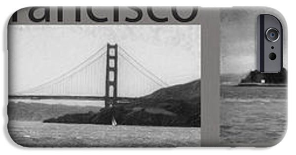 Alcatraz iPhone Cases - San Francisco Panorama Art iPhone Case by David Millenheft