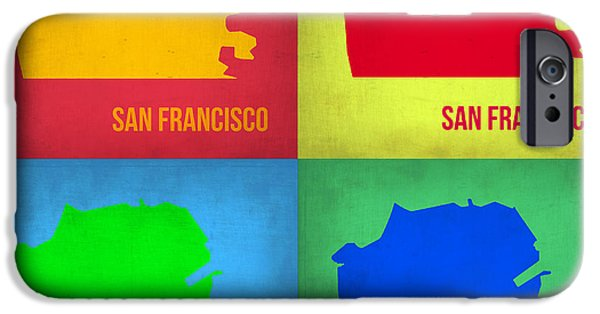 San Francisco iPhone Cases - San Francisco Pop Art Map 1 iPhone Case by Naxart Studio